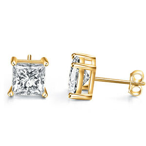 585cc149d 925 Sterling Silver Stud Earring 4 Prong Square Cubic Zirconia 14k ...