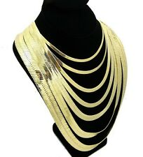 "14K Gold Plated Herringbone Chain Flat Flexible Necklace 20/""-30/"" 4MM-14MM Wide"