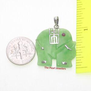 Solid 925 Sterling Silver Hand Carved Celadon Green Jade Elephant Pendant TPJ
