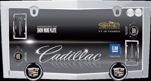 2 SCREW BOLT CAPS FOR CAR AUTO NEW CADILLAC LOGO CHROME LICENSE PLATE TAG FRAME