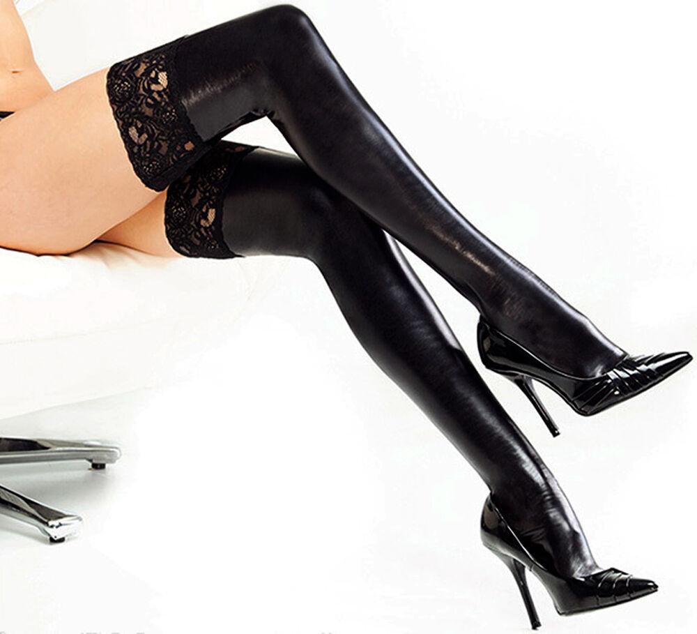 Frauen Lackleder elastische Spitze lange Strümpfe Party enge Socken Strumpfwaren