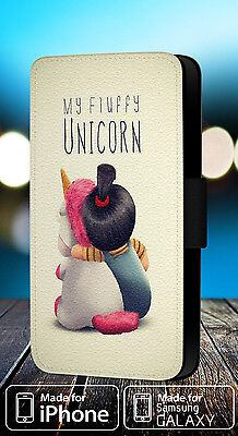AGNES UNICORN FLUFFY PONY FAUX LEATHER FLIP PHONE CASE COVER L176