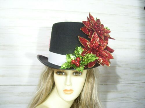 Steampunk Accessories | Goggles, Gears, Glasses, Guns, Mask   Christmas Red Sparkly Poinsettia Top Hat Holiday Top Hat Dickens Festival Top $49.99 AT vintagedancer.com