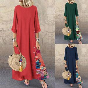 ZANZEA-Women-Cotton-Long-Shirt-Dress-Floral-Print-Patchwork-Loose-Maxi-Dress-US