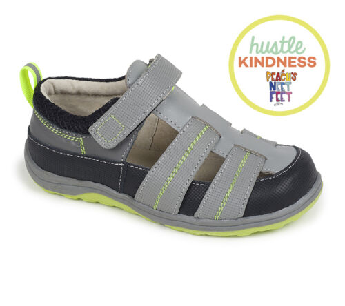 See Kai Run Christopher II Boy Sandals Leather Gray Black Summer Shoes KAI118M