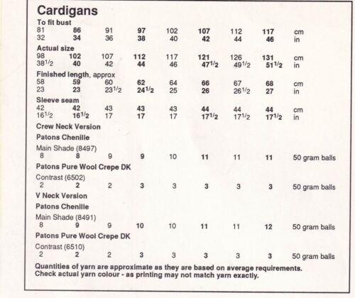 "BP19 Señoras Cardigans ~ ~//V-Cuello Redondo ~ Chenille//DK Tejer patrón Talla 32/"" 46/"""