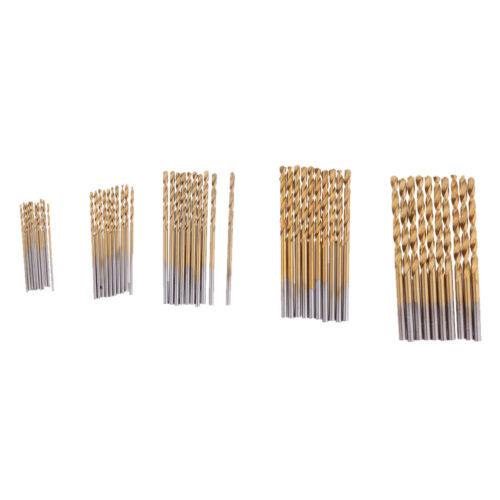 Titanium Coated HSS Drill Bits Set 50 Piece Plastic Wood Metal Kit 1.0-3.0mm