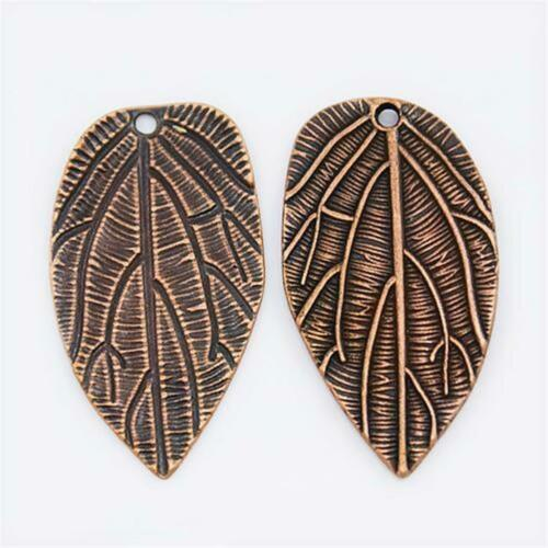 P1812...PACK OF 5 COPPER PLATED LEAF PENDANTS 37mm