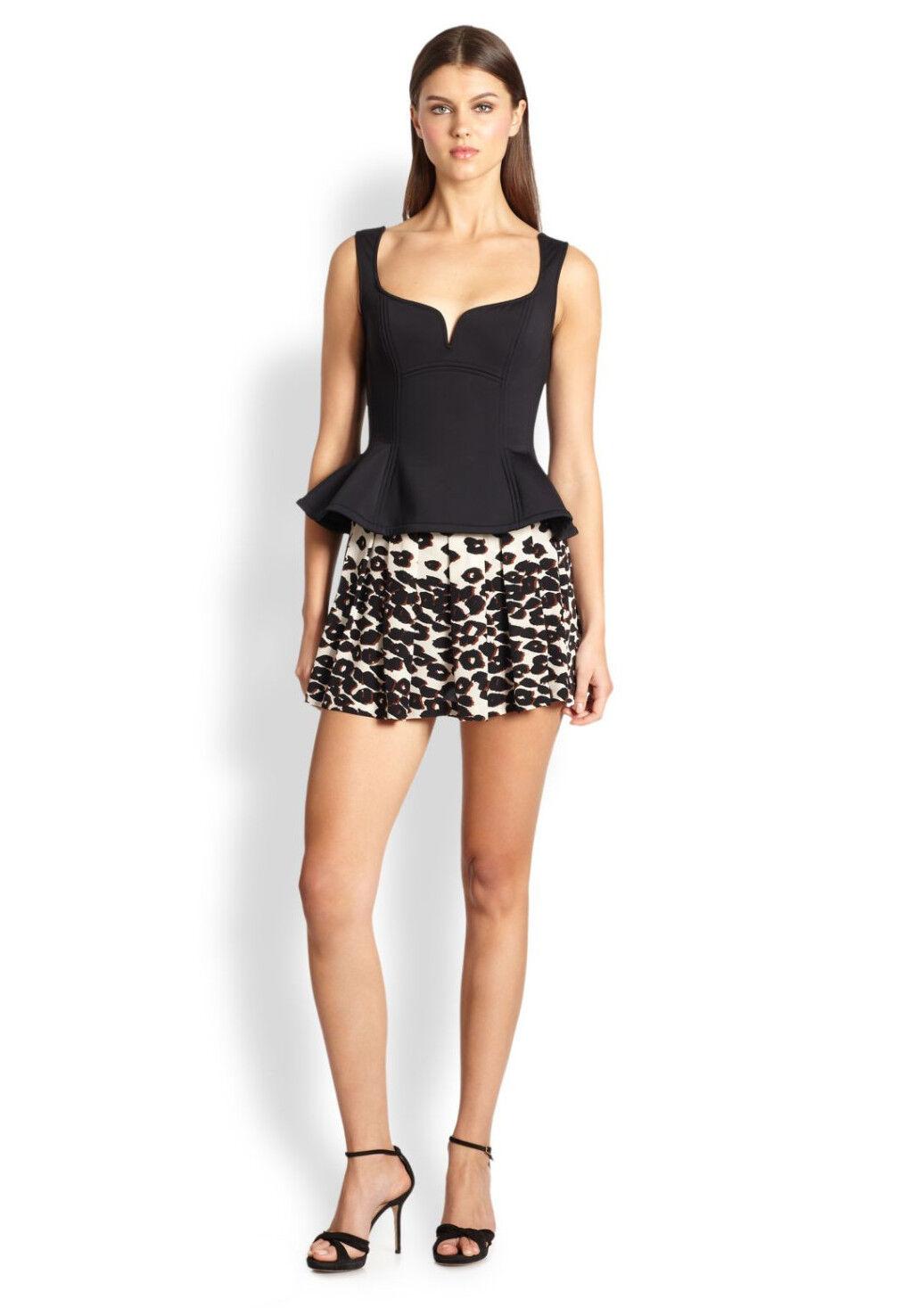 278 Nanette Lepore 'Amazon' Leopard Print Shorts Skirt Skort in Ivory, Size 2