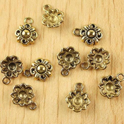 50pcs Dark Gold-Tone Flower Charms Findings h1839