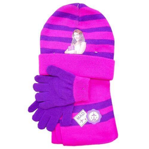 kuschelig lila pink Schal Mütze Handschuhe Violetta Mützen Set Disney