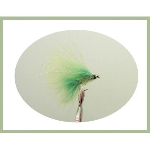 6 pack of MINI Cats Whiskers. Trout Flies, Lime Chenille, size 10, Fishing Flies