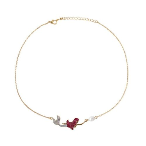 Enamel Mermaid White Pearl Pendant Gold Color Chain Necklaces Women Gift Jewelry