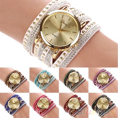 Womens Stunning Vogue Geneva Faux Suede Rivets Rhinestone Multi-Wrap Wrist Watch