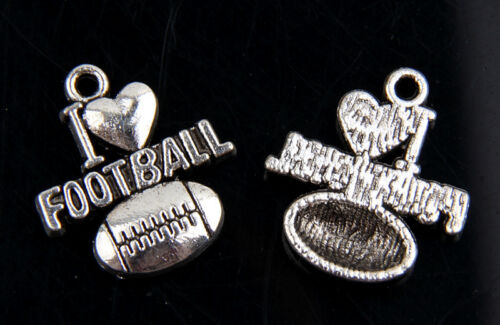 "30pcs Tibetan Silver /""I LOVE FOOTBALL/"" SOCCER Charms For Jewelry Making 11mm"