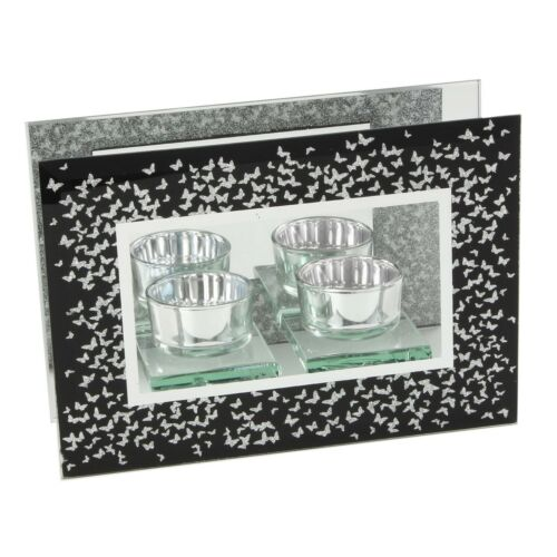 Black /& Silver Butterflies Design Double Tealight Candle Holder