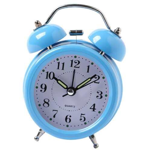 Vintage Two Bell Study Alarm Clock Kids Bedside Desk Waking Up Clock Blue