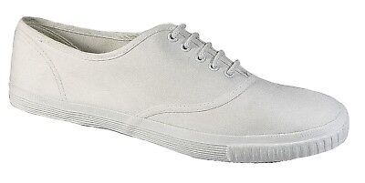 Mens Plimsoll Shoes White Canvas Laced