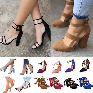 New-Women-High-Heels-Strap-Ankle-Block-Sandals-Chunky-Party-Dress-Open-Toe-Shoes