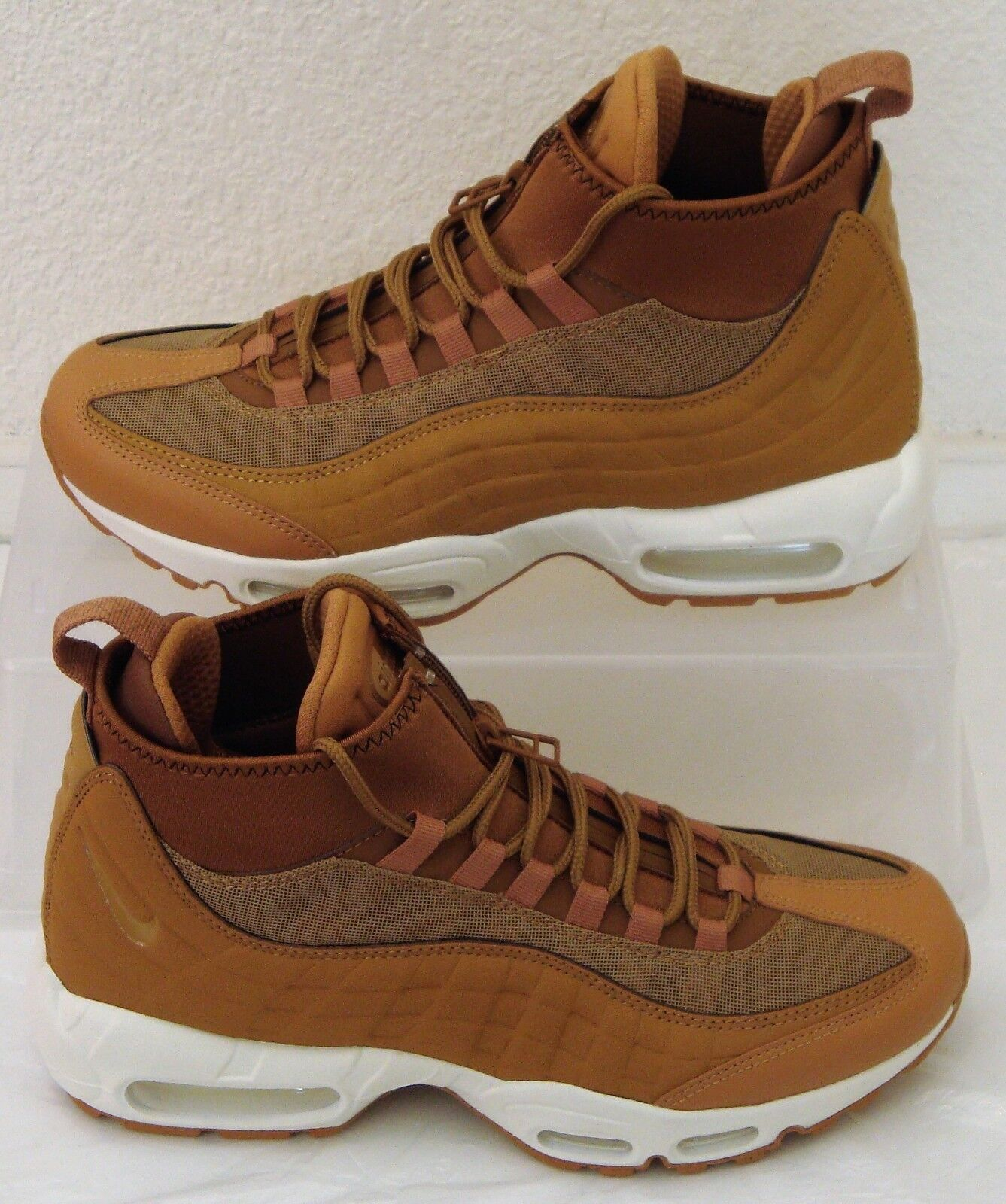 New Nike Air Max 95 Sneakerboot Flax Ale Mens US Size 7.5 Tan