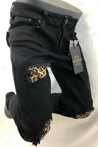Mens Jean Victorious Skinny Leg Tiger Leopard Patches Rips Biker Rocker Dl1252 Ebay