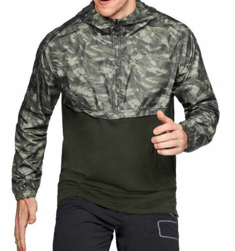 NWT Mens Under Armour UA Wind Anorak Jacket Pullover Green//Camo 3XL MSRP $60