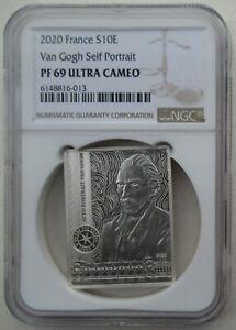 NGC-PF69-France-2020-Van-Gogh-Self-Portrait-Rectangle-Silver-Coin-S10E-COA