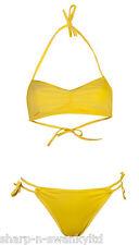 NEW Ladies Yellow Halterneck 2 Piece Bikini Tie Side Brief Set UK 8-10 EU 36-38