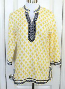 Charter-Club-Linen-Luxury-Tunic-Yellow-Black-Shirt-Side-Slit-Sz-M-Medium-EUC