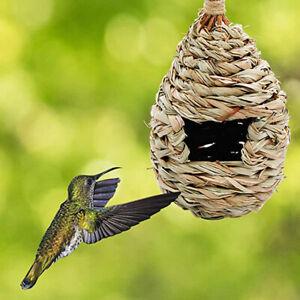 Bird House Hanging Hummingbird Fiber Nest Hand-woven Grass Straw Garden Roosting