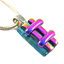 DICHROIC-Fused-Glass-Silver-PENDANT-Magenta-Pink-Verdigris-Green-Striped-Layers thumbnail 1