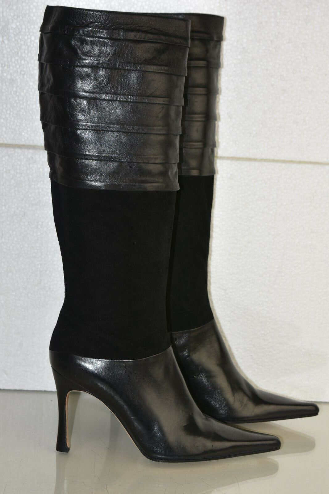 950 New RICKARD SHAH Knee High Boots Leather Suede Black Heels shoes 39.5 RARE