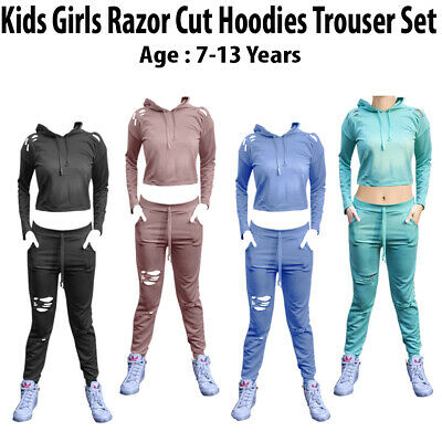 OVER STOKED CLEARANCE Kids Girls Ripped Loungewear//Joggers//Tracksuit CHILDREN