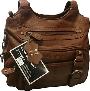 Roma Leathers Concealed Carry Purse Genuine Leather Locking Ccw Gun Bag 740704989682 Ebay