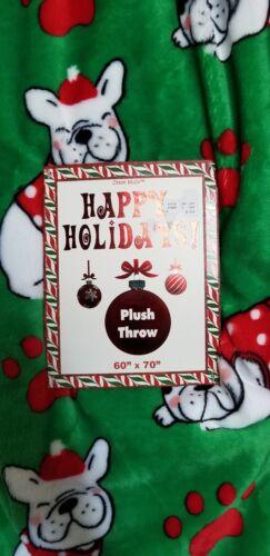 "Crest Mills French Bulldog Frenchie Christmas Throw Blanket 60/"" x 70/"" NWT"