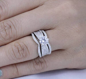 925 Sterling Silver 3 Pices CZ Wedding Band Engagement Rings Set