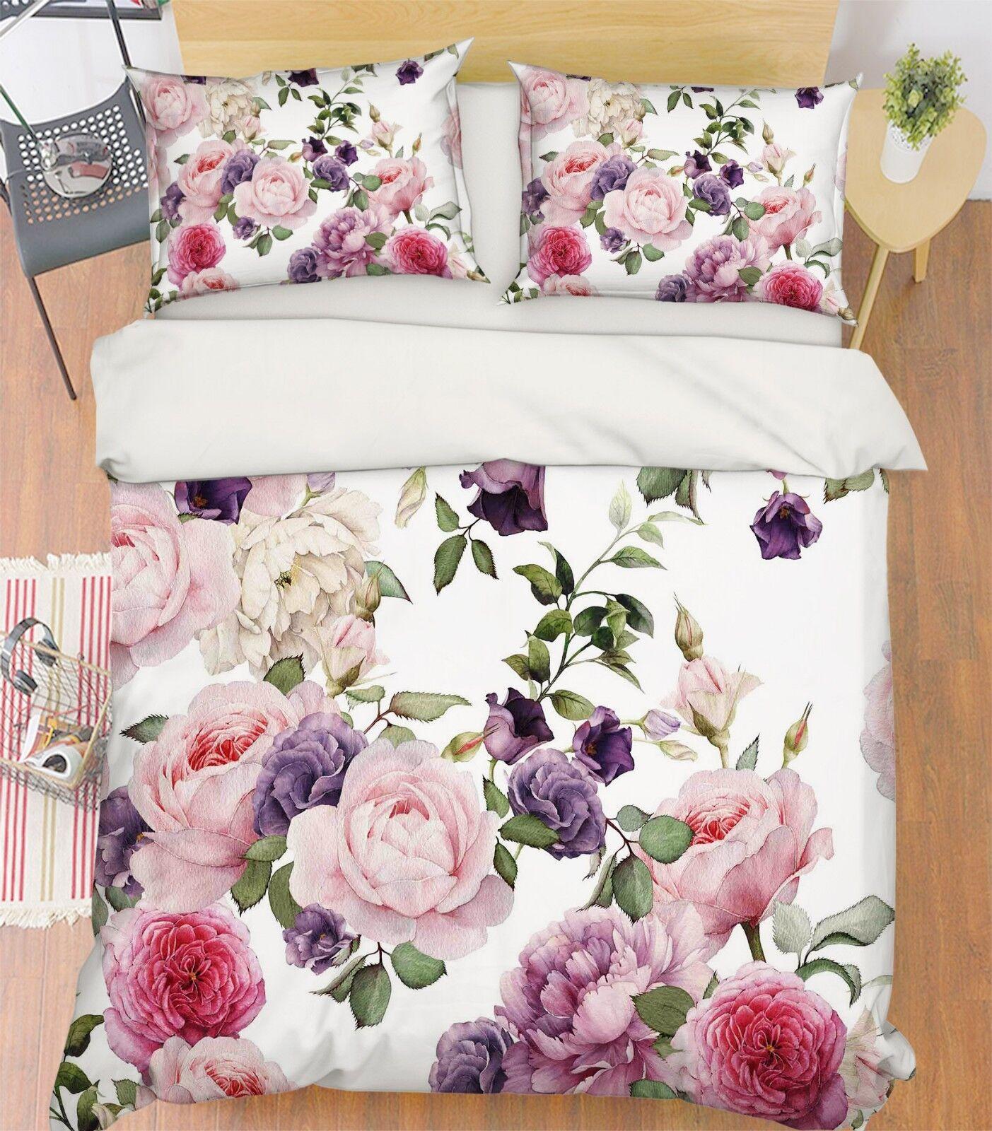 3D Painted Flower 67 Bed Pillowcases Quilt Duvet Cover Set Single King UK Summer