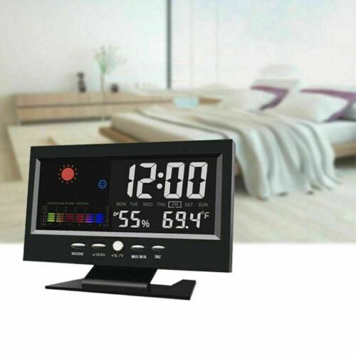 Digitalanzeige uhr Digitaluhr LED Wecker Tischuhr Luftfeuchtigkeit LCD NEU