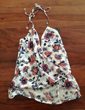 Abercrombie & Fitch Women Halter Top XS Wrap Front Floral Orange Off White Tie