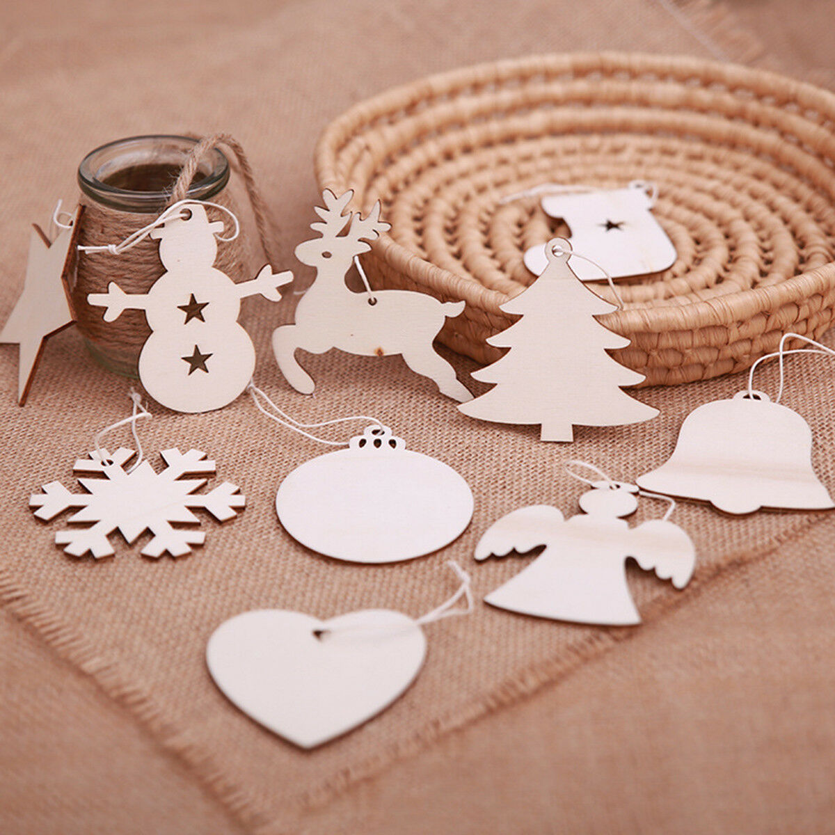 10 x CHRISTMAS STAR small WOODEN SHAPE EMBELLISHMENT HANGING CRAFT PLAIN TAG