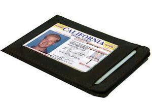 BLACK-Genuine-LEATHER-THIN-Credit-Card-ID-Wallet-Holder-Mens-Front-Pocket