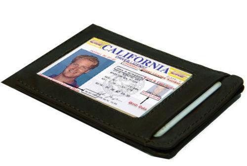 BLACK Genuine LEATHER THIN Credit Card ID Wallet Holder Mens Front Pocket