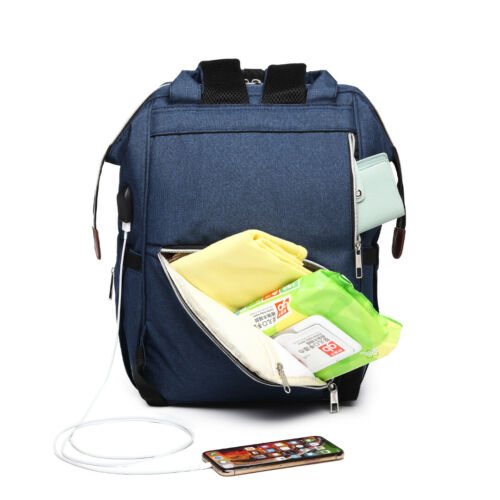 Polka Dot Backpack Nappy Changing Bag Diaper Maternity with USB Connectivity