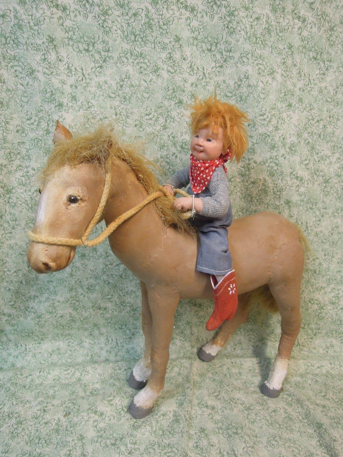 Den-206 Dianne Dengel uno de una tipo muñeca;  Caballo y Jinete  firmado; 2008
