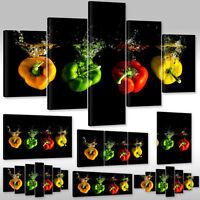 Leinwandbild Canvas Wandbilder Kunstdruck Für Küche Bunte Paprika Wassertropfen