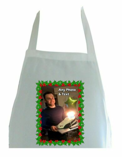 PERSONALISED HOLLY PHOTO PRINT POLYESTER APRON CHRISTMAS BIRTHDAY KITCHEN GIFT