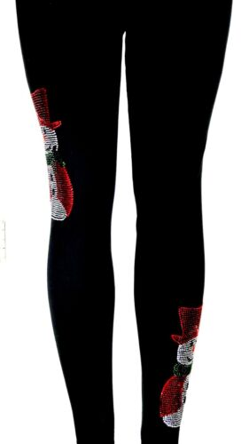 Regular or Plus Size Leggings All Rhinestone Red Top Hat /& Cape Snowman Design
