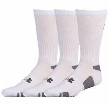Under Armour Heatgear UA Men's Crew Socks 3 Pair Pack Medium 4 - 8.5 White New