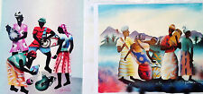 Two 8x10, Original,Oil,Reseller,Signed,Impressionism, Haitian Marketplace