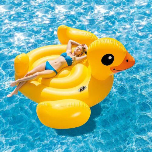 Jumbo Inflatable Pool Floating Duck Island Raft Giant Yellow Party Water Lounge